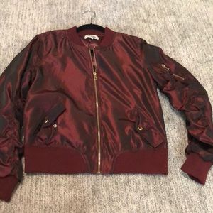 Ruby red bomber jacket
